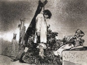 Hanging...too bloody good for them.  From Goya's Disasters of War