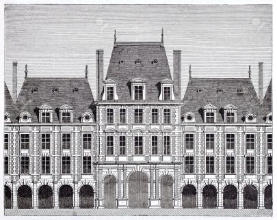 15270155-Queen-pavilion-in-place-des-Vosges-formerly-place-Royale-By-unidentified-author-published-on-Magasin-Stock-Photo